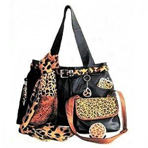Black Leather Tote Travel Set Leopard AccessoryXXL